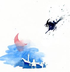 Beware of witches flying on a broom stick. Illustration from The Witch's Hand by Peter Utton. www.peterutton.com #witch #broomstick