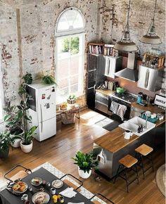 Idées cuisine, déco industrielle, mur en briques Tropical Home Decor, Tropical Houses, Garden Terrarium, House Inside, House Elevation, Modern Architecture, Kitchen Design, Home And Garden, Room Decor