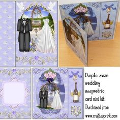 Purple swan wedding assymetric card mini kit on Craftsuprint designed by Sharon Poore - Purple swan wedding assymetric card mini kit,the kit contains card base sheet and inserts sheet - Now available for download!