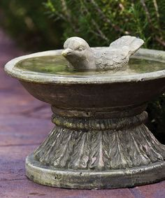 Gray Vintage Bird Bath & Songbird Figure
