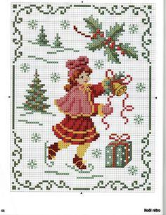 skating girl Christmas cross stitch free | REPINNED