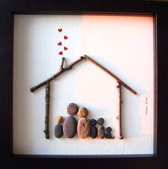 Eine einzigartige Weihnachten Geschenk - A Unique Familie Geschenk - benutzerdefinierte Familie-Kunstwerk - Familie von fünf Kiesel Kunst - Familie von fünf und Hund Kunst - Familie Geschenk - Tier-Liebhaber-Geschenk zur Feier Liebe, Familie und Gemeinsamkeit. ✿ Original Kiesel-Art mit einem Sinn für Romantik, Geheimnis und Magie. ✿ Kommt in 8 x 8 Zoll schwarz Shadow-Box-Stil-Rahmen mit Glas. ✿ Kommt von mir signiert. ✿ Kann auf Wunsch personalisiert werden. ●●▬▬▬▬▬▬▬▬▬●✿●▬▬▬▬▬▬▬▬▬●●...