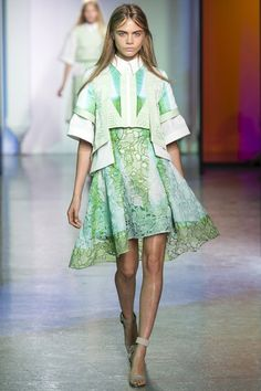 Peter Pilotto Floral cut out dress with cropped jacket with partial peplum. Luv. #ss14