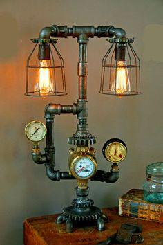Steampunk Shade Steam Gauge Gear Lamp Light Industrial Art Machine Age Salvage   eBay