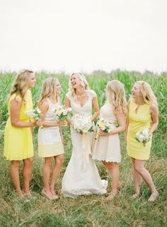 Having a Yellow wedding? See some ideas for your Bridesmaids with these Yellow Bridesmaids Dresses Mismatched Bridesmaid Dresses, Beautiful Bridesmaid Dresses, Bridesmaid Ideas, Yellow Wedding Colors, Yellow Weddings, Summer Weddings, Wedding Attire, Wedding Dresses, Wedding Bouquet