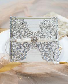 luxury silver glitter laser cut wedding invitation with champagne backer Laser Cut Wedding Invitations, Beautiful Wedding Invitations, Wedding Invitation Inspiration, Successful Marriage, Silver Glitter, Groom, Sparkle, Engagement, Bride