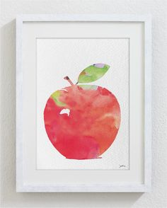 Red Apple Watercolor Print  5x7 Archival Print  Apple by ElfShoppe, $12.00