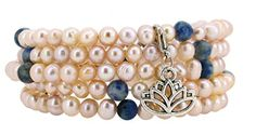 Freshwater Cultured Dyed Pink Pearls Simulated Sodalite Wrap Bracelet with a Removable Charm * Be sure to check out this awesome product.