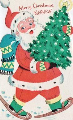 Vintage Christmas card Christmas Artwork, Old Fashioned Christmas, Christmas Past, Father Christmas, Christmas Goodies, Christmas Crafts, Vintage Greeting Cards, Christmas Greeting Cards, Christmas Greetings