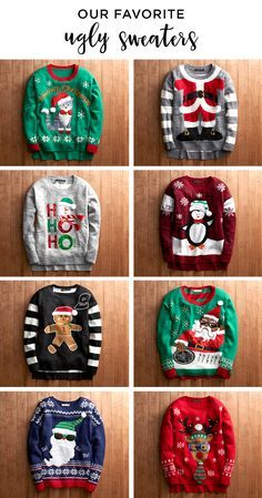 Be the hit of the ugly Christmas sweater party this holiday season. Featured product includes: women's Christmas crewneck sweater in snowman, gingerbread, meowy Christmas, penguin, reindeer and Santa; and juniors' It's our time light-up Christmas sweater in cloverfield and mood indigo. Give the best gifts ever with Kohl's.