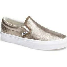 Vans Metallic Slip-On Sneaker Womens Metallic Bronze