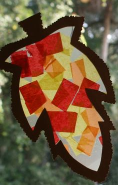 Leaf Suncatcher...add a splash of fall color to your windows with this easy fall craft for kids of all ages.
