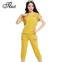 Tlzc mujeres de moda de impresión chándales tamaño l-4xl loose o-cuello de la señora patrón de flores mujer conjuntos de sistemas de la ropa casual de manga corta