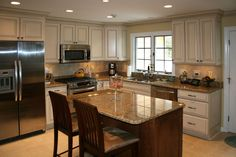 kitchen remodle mixed styles in | Louis Kitchen Cabinets Kitchen Remodeling - Painted and glazed kitchen ...