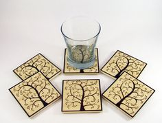 Tree Wood Coasters  Wood Pyrography  Tree Coasters by bkinspired