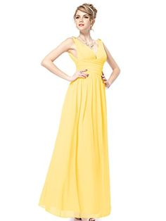 5c0af3737d6 Ever Pretty Womens Maxi Ruched Long Casual Summer Maxi Dress 10 US Yellow  List Price