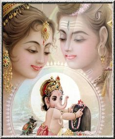 Baby Ganesh with his parents, Shiva and Parvati.