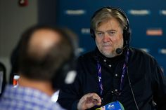 CLEVELAND, OH - JULY 20: Stephen K. Bannon talks with Dan Schneider, Executive Director of the American Conservative Union, about what Ted Cruz may say during his speech at the Republican National Convention tonight while hosting Brietbart News Daily on SiriusXM Patriot at Quicken Loans Arena on July 20, 2016 in Cleveland, Ohio. (Photo by Kirk Irwin/Getty Images for SiriusXM)