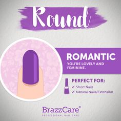 Round Shape - Romantic: you're lovely and feminine. Thus shape is perfect for Short nails, natural or extensions Brazzcare is perfect for this type of shape! - Find out! Types Of Shapes, Aesthetic Beauty, Professional Nails, Short Nails, Natural Nails, Nail Care, Pedicure, Extensions, The Cure
