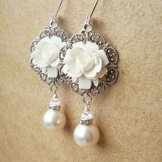 White Rose Bridal Earrings, Vintage Style Pearl Wedding Earrings,... ($58) ❤ liked on Polyvore featuring jewelry, earrings, pearl earrings, white earrings, bride earrings, rose jewelry and rose earrings