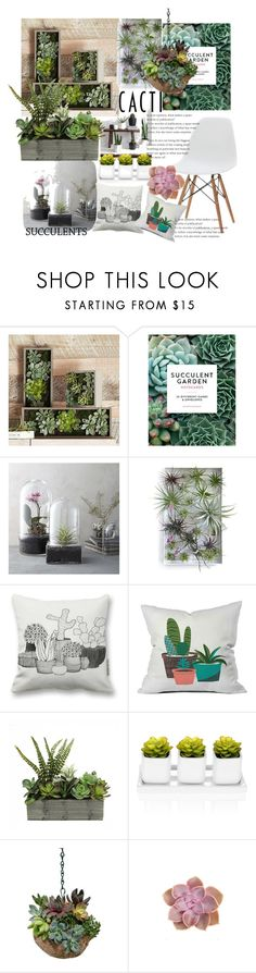 """cacti and succulents"" by marionmeyer ❤ liked on Polyvore featuring interior, interiors, interior design, home, home decor, interior decorating, PBteen, Chronicle Books, West Elm and Dot & Bo"