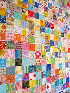 I really want to make a postage stamp quilt in all bright prints like this. Maybe after I build up my scrap stash a little more. Scrappy Quilts, Easy Quilts, Small Quilts, Quilting Projects, Quilting Designs, Sewing Projects, Postage Stamp Quilt, Postage Stamps, Skinny Quilts