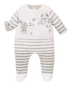 Another great find on #zulily! Ivory Stripe Embroidered Footie - Infant by Sucre d'Orge #zulilyfinds