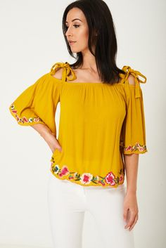 f9fec163e9e13 Yellow Off Shoulder Embroidered Top Ex Brand