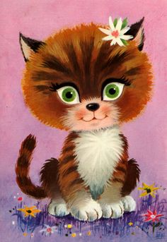 Vintage big eyed post card 70s. Cute cat with big green eyes. Framing for decorating a nursery room.  Or... just for collecting.    Printed in