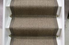 Sisal Tiger Eye Oriental Pewter stair runner with weathered larch cotton border x Stairs Width, Stairs Edge, Back Painting, House Painting, Sisal Stair Runner, Stair Runners, Winding Stair, Painted Staircases, Light Gray Paint