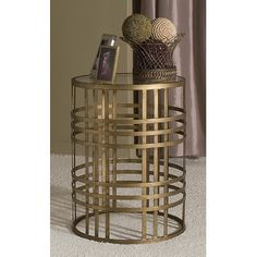 Dalton Home Collection Dalton Home Collection Large Barrel Table with Weave and Removable Glass Top