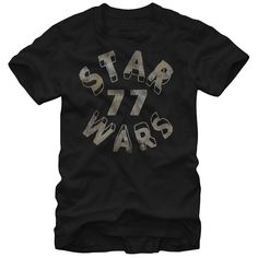 Star Circle - Celebrate the release of the original Star Wars and all the films that followed with the Star Wars Distressed 1977 Logo Black T-Shirt. A simple print on the front of this classic black tee reads Star Wars 77 in distressed letters for a vintage-style
