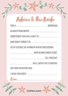 Check out this free Advice to the Bride print out, ready for big hen do! #planningtips #bridetribe #bridetobe #GoHen #wedding #weddingplanning #planningtips #hendoideas #henpartyplanning #hendo #henparty Party Planning, Wedding Planning, Hen Party Bags, Party Dares, Bridesmaid Inspiration, Free Advice, Always Remember, On Your Wedding Day, Maid Of Honor
