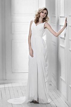 e8f3acb317 Charming A-line V-Neck Chiffon Sweep Train Beach Wedding Dress Wedding  Dresses 2014