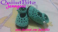 Zapatitos bebé niña tejidos a crochet en algodón menta y café. www.facebook.com/quiiutbitz