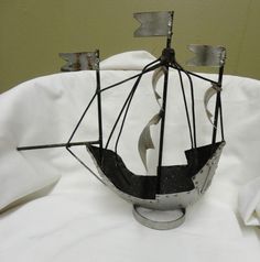 Vintage Metal Nautical Pirate Ship Boat Fishing Steampunk Metal Artwork