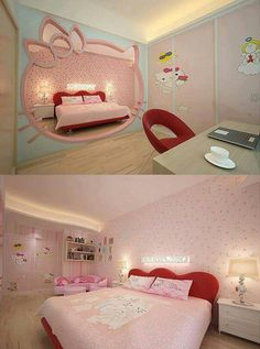 Hello kitty bedroom decor with wallpaper hello kitty ideas