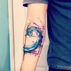 Abstract themed wave tattoo. The beautiful abstract feel of the tattoo adds to the mystery and to the strength that the wave possesses.
