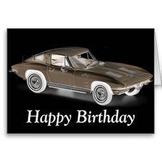 Happy Birthday With Classic Car Red Racing Card