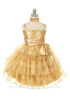 Flower Girl Dress Style 226 - Beautiful Organza Layered and Sequin Detailed Dress $49.99