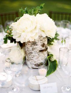 White Flower & Birch Tree Centerpiece | Photography: Jose Villa Photography. Read More: https://www.insideweddings.com/news/planning-design/25-rustic-wedding-centerpieces-to-inspire-your-big-day/3139/