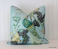 One or Both Sides - ONE High End Schumacher Miles Redd Peacock Aqua Pillow Cover with Self Cording