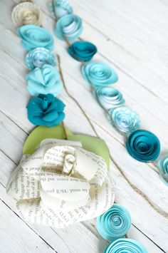 Wedding Garland Paper Flower  garland Teal and white flowers - hmmmmm...decorations?