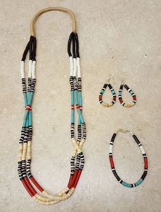 NICE 4 PC.HEISHI BEADED NATIVE AMERICAN INDIAN BRACELET, EARRINGS & NECKLACE SET | Collectibles, Cultures & Ethnicities, Native American: US | eBay!