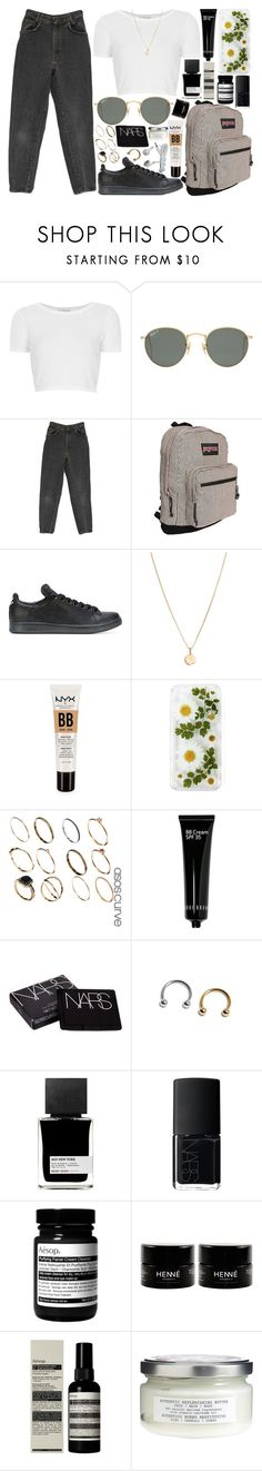 """""""loose time"""" by velvet-ears ❤ liked on Polyvore featuring Topshop, Ray-Ban, JanSport, adidas, Laura Lee, NYX, ASOS, Bobbi Brown Cosmetics, NARS Cosmetics and MiN New York"""