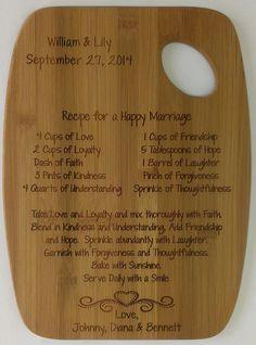 Recipe for a Happy Marriage Cutting Board by CreativeLaserArt4U, $19.95