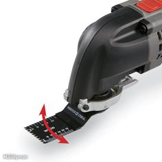 An oscillating tool works with a side-to-side movement. The oscillation is very slight (about 3 degrees) and very fast (about 20,000 strokes per minute), so it feels more like vibration. A saw blade is shown; the tool also works with scrapers and sanding pads.