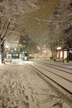Wintry small town street at night.looks like my small town in winter. Winter Szenen, I Love Winter, Winter Magic, Winter Night, Winter Christmas, I Love Snow, Snowy Day, Snow Scenes, Winter Pictures