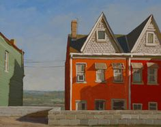 Ron Donoughe Brightly painted houses with a sense of foreboding, somehow. Excellent shadows!