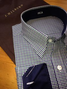 Quality and a perfect fit, my newest shrt. Green & Navy mini Gingham with contrasting collar, cuff, and placket. Even thew in a hidden button down collar. IM me to schedule your personal styling and measurement. Custom Clothes, Custom Shirts, Male Dress, Contrast Collar, Men Wear, Men Shirts, Manish, Best Model, Button Down Collar